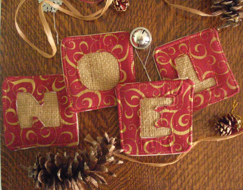 Lina and Vi Holiday 2014 Collection - burlap NOEL coasters