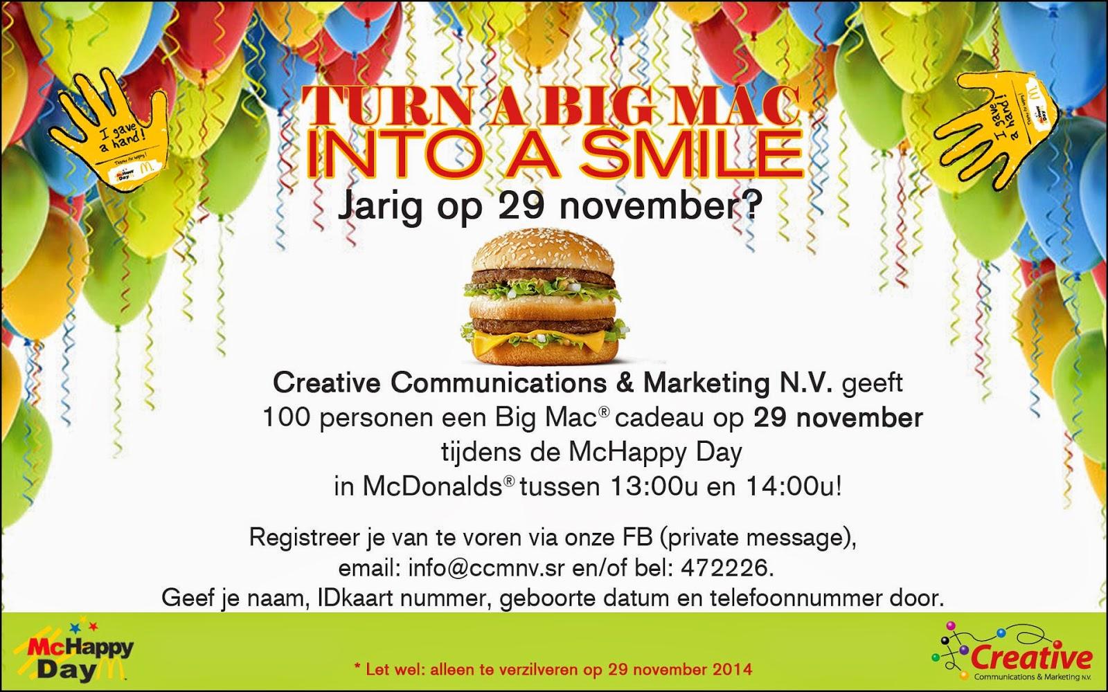 Ben je op 29 november jarig? Krijg een Big Mac cadeau!