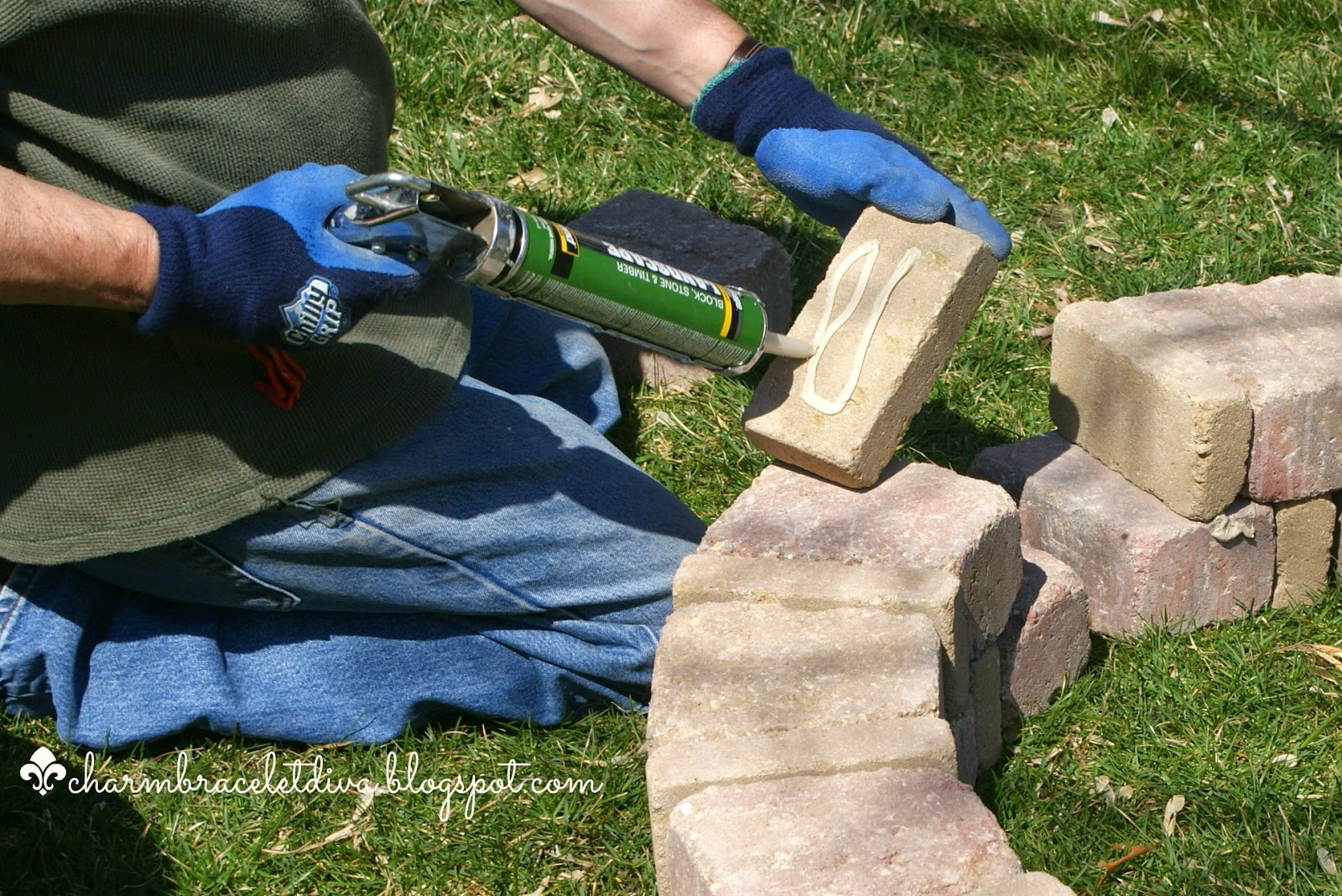How to apply garden adhesive to fire pit concrete blocks