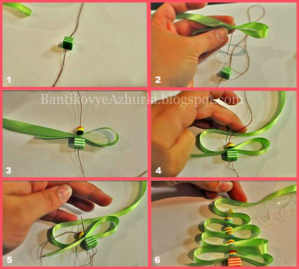 игрушка на елку своими руками из лент и бусин