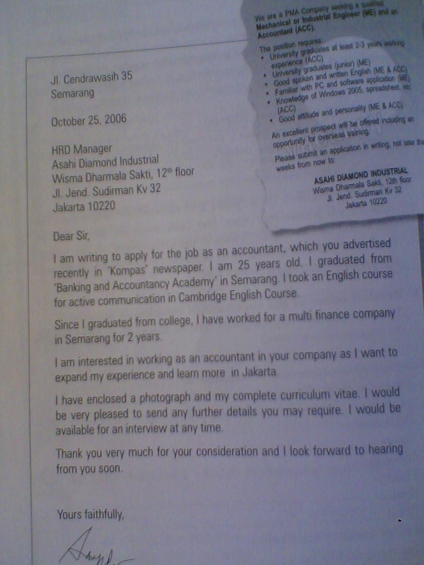 Tips Membuat Surat Lamaran Bahasa Inggris FeroZ Contoh