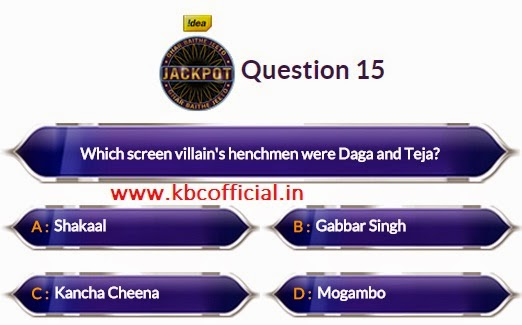 Ghar Baithe Jeeto Jackpot Question No 15 - Episode no 10 Dated 2nd September 2014 - KBC GBJJ