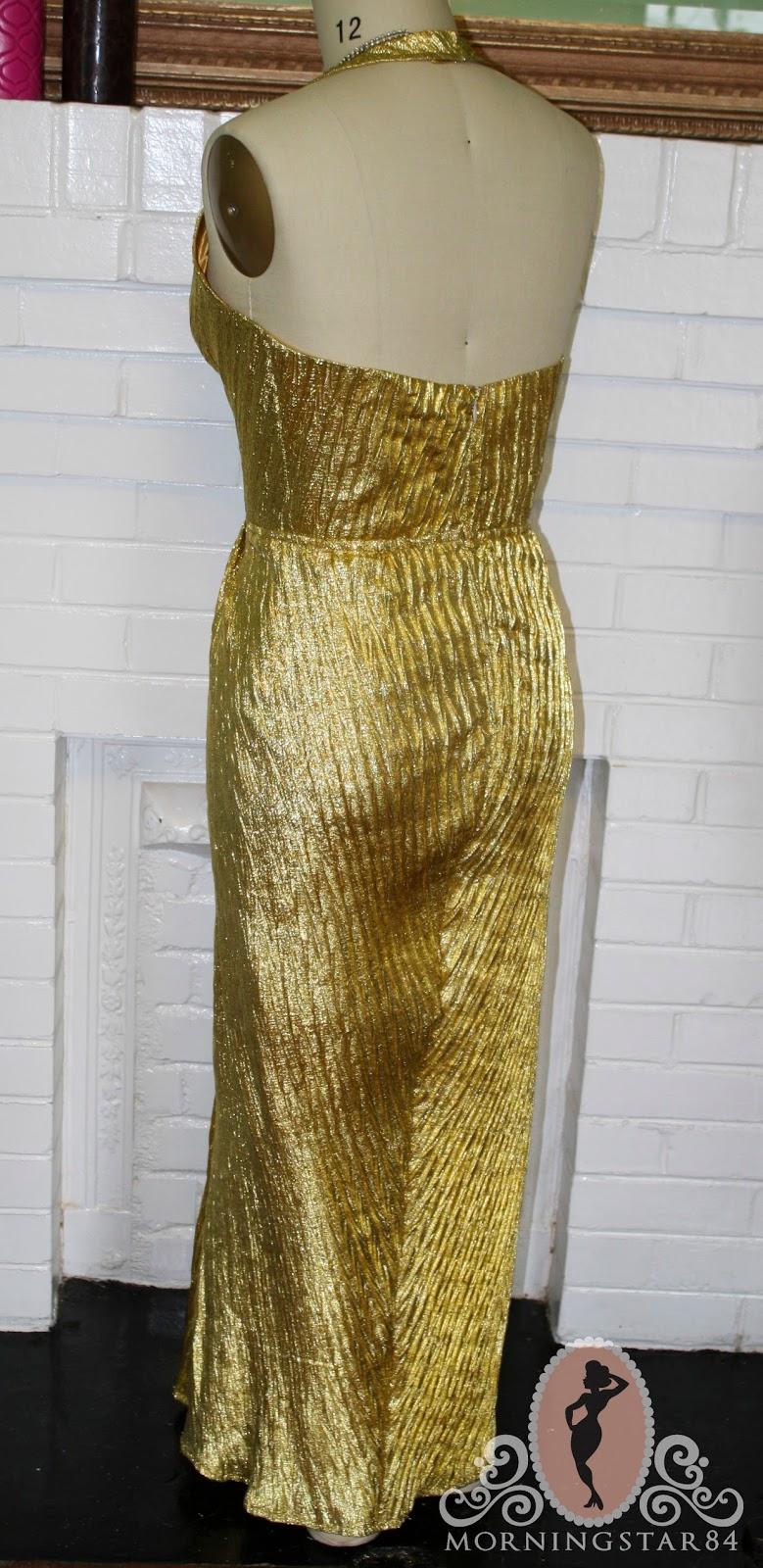 Morningstar Pinup Marilyn Monroe Gold Lame Dress Simplified