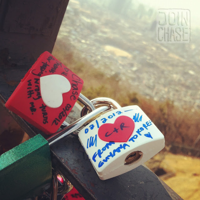 """Chase and Rina's """"locks of love"""" at Namsan Seoul Tower in Seoul, South Korea."""