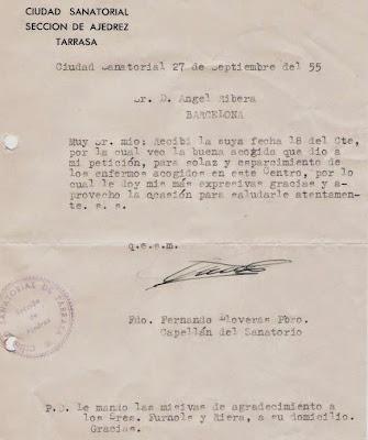 Carta de la Ciudad Sanatorial de Terrassa a Ángel Ribera, septiembre 1955