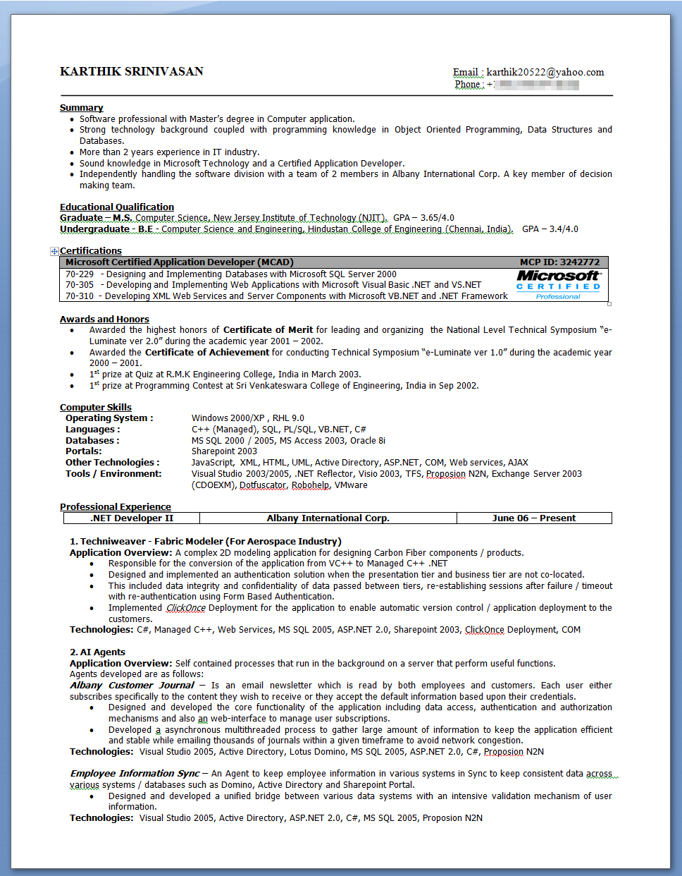 Resume examples for second job