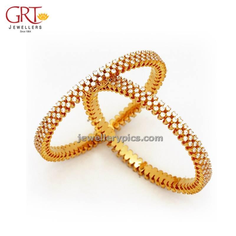 GRT stone gold bangle mela designs -2013 - Latest Jewellery Designs