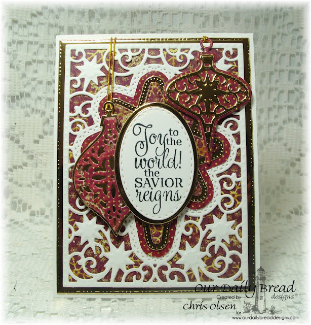 Our Daily Bread Designs, Delightful decorations dies, Tree Trimming Trios die, Christmas carols stamps, Christmas Paper Collection 2015, Flourished Star Pattern Die, Ovals die, Stitched Ovals die, Splendorous Stars die, designed my Chris Olsen