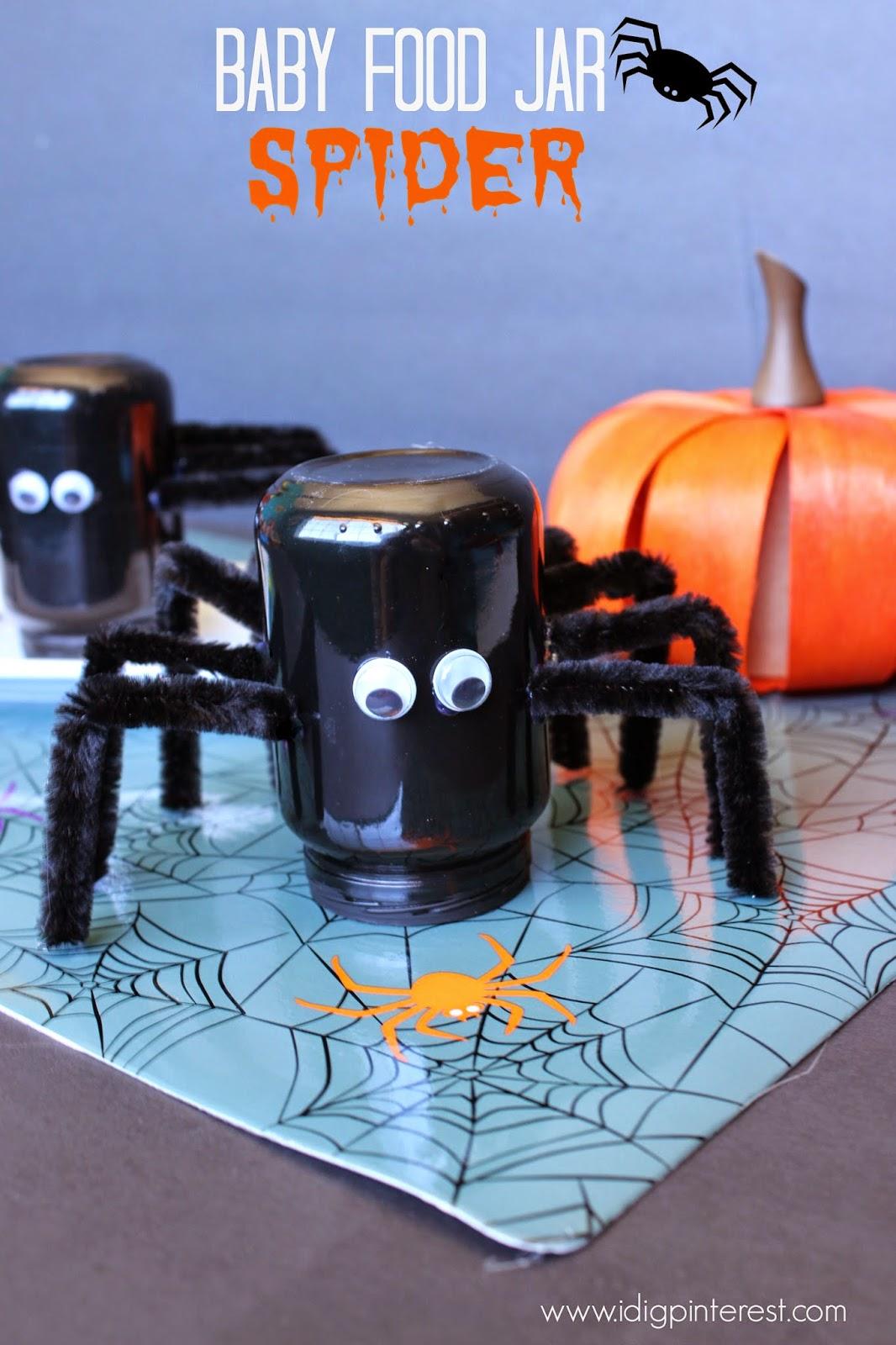 Baby food jar spider craft i dig pinterest for Baby food jar crafts pinterest