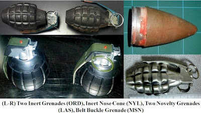 Grenades and rocket nose cone.