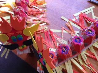 Egg Carton Dragon for Chinese New Year