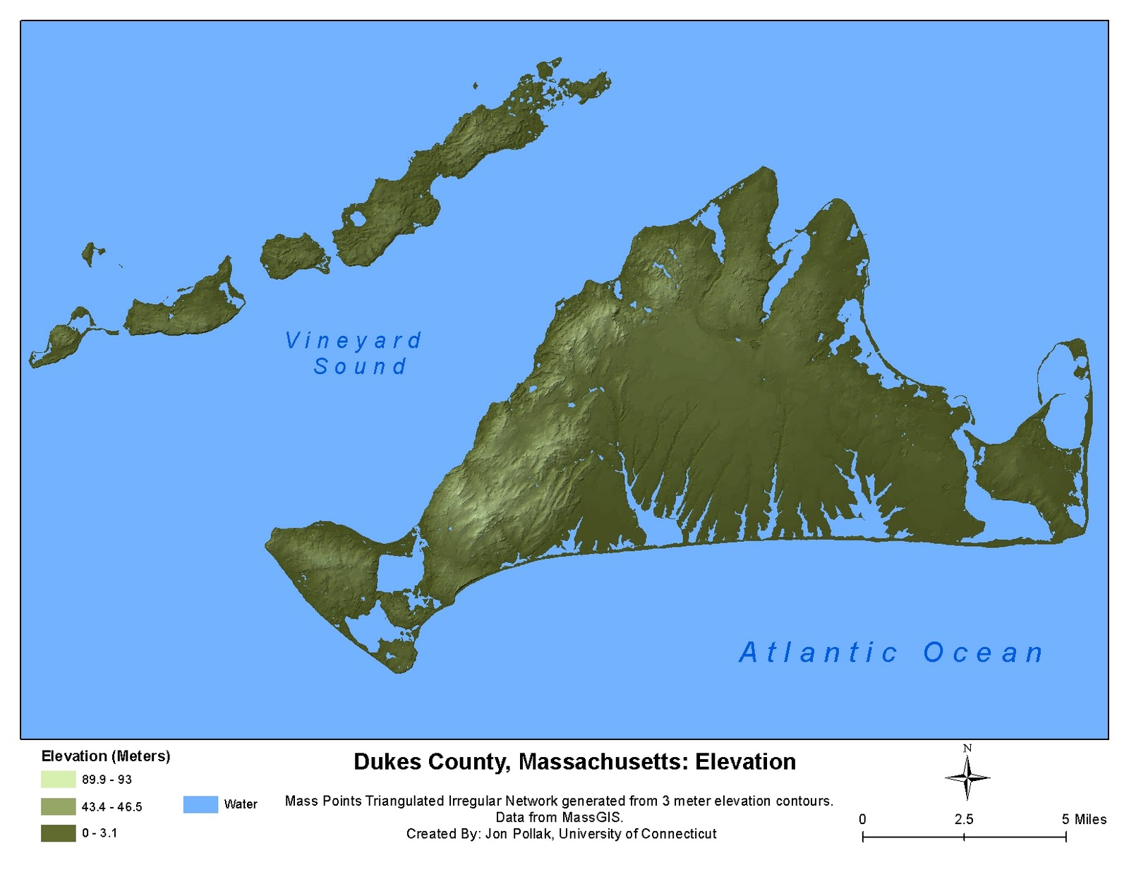 Modeling The Elevation Of Marthas Vineyard In ArcGIS Outside - What is my sea level elevation