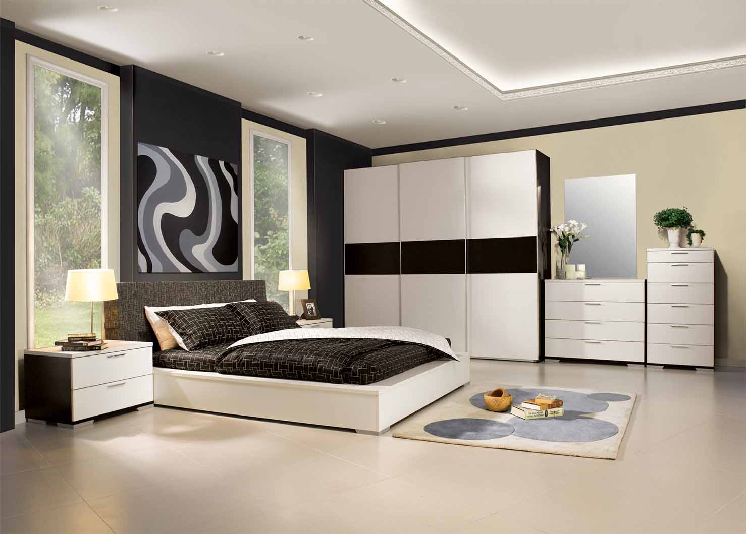 Modern black bedroom furniture popular interior house ideas for Black and white modern bedroom ideas