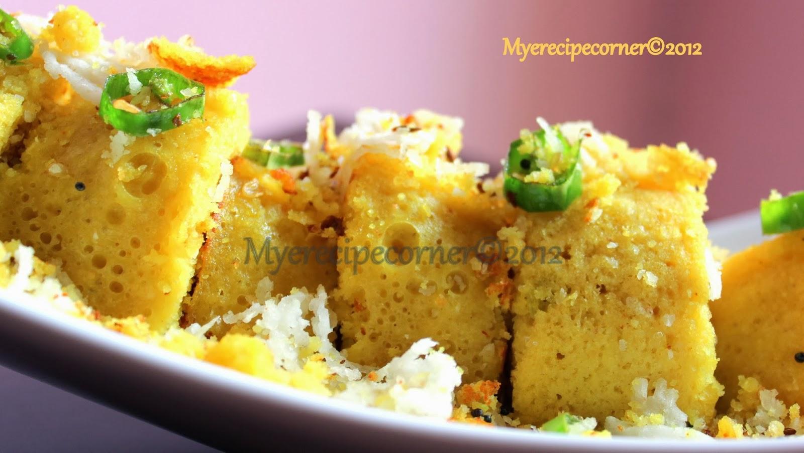 Myes kitchen khaman dhokla recipe a tribute to tarla dalal khaman dhokla recipe forumfinder Image collections