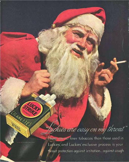 Cigarros Lucky Strike - Papai Noel fumante. Propaganda de 1935.