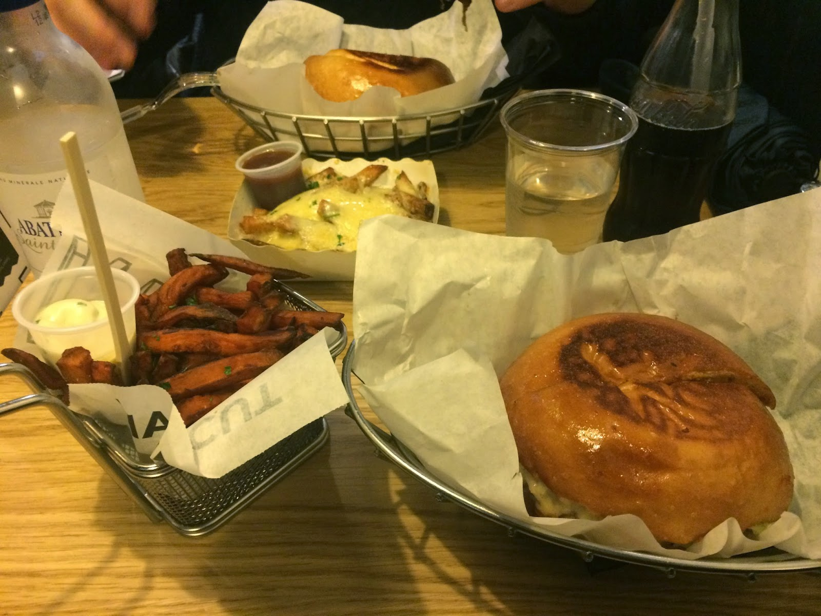 Burgers, sweet potato fries & cheese fries at Blend, rue d'Argout, Paris