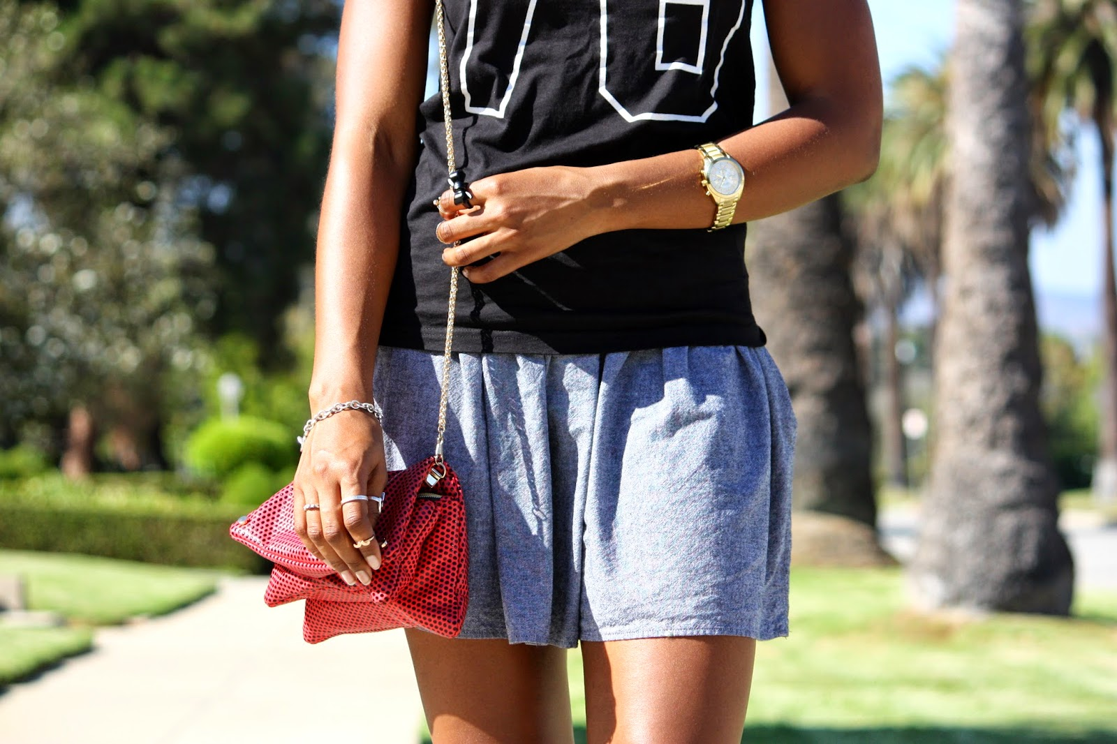 Wearing Caravelle NY watch HM crossbody bag and Tiffany Co bracelet