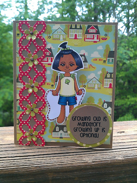 handmade card with a Copic colored image from Little Miss Muffet Stamps