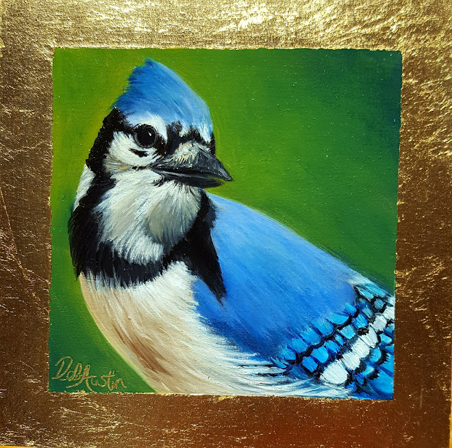 "Blue Jay (oil on gold leaf, 5"" sq)"