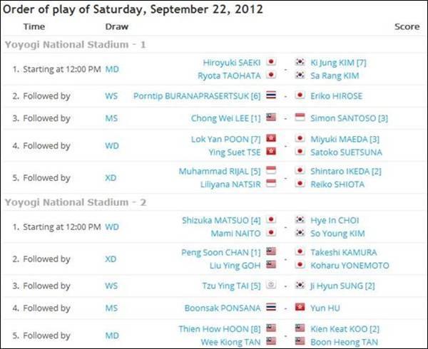 Jadual Separuh Akhir Badminton Terbuka Jepun 2012