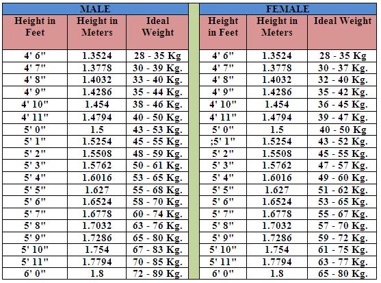 healthy weight chart women