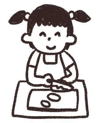 料理のイラスト「料理をしている女の子」 白黒線画