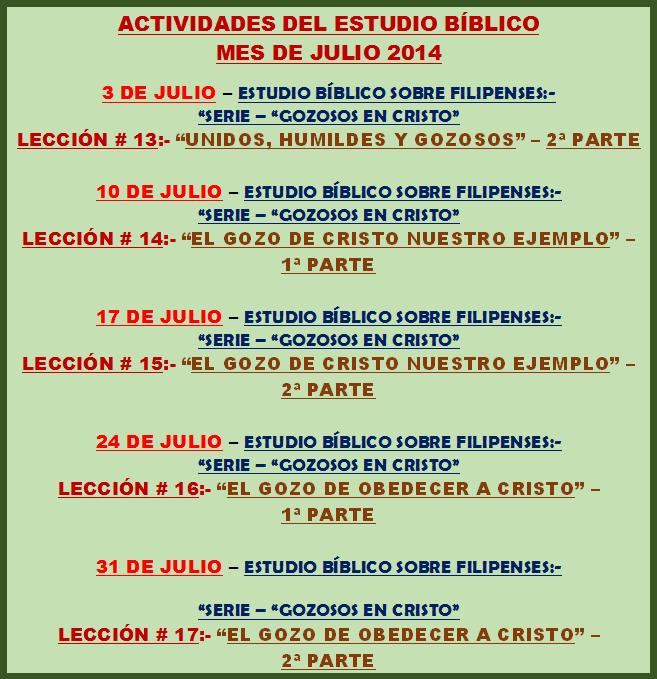 ESTUDIOS BÍBLICOS - JULIO 2014