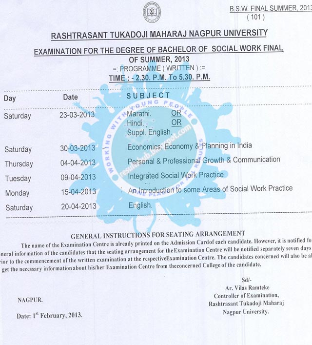 BSW Final Year Summer 2013 Timetable Nagpur University