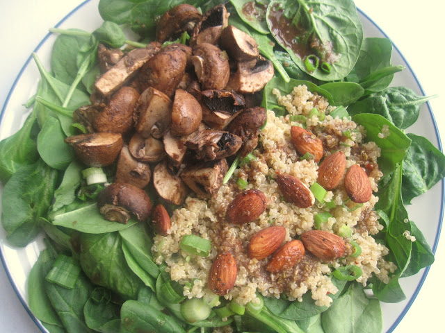 Roasted Mushroom and Quinoa Spinach Salad