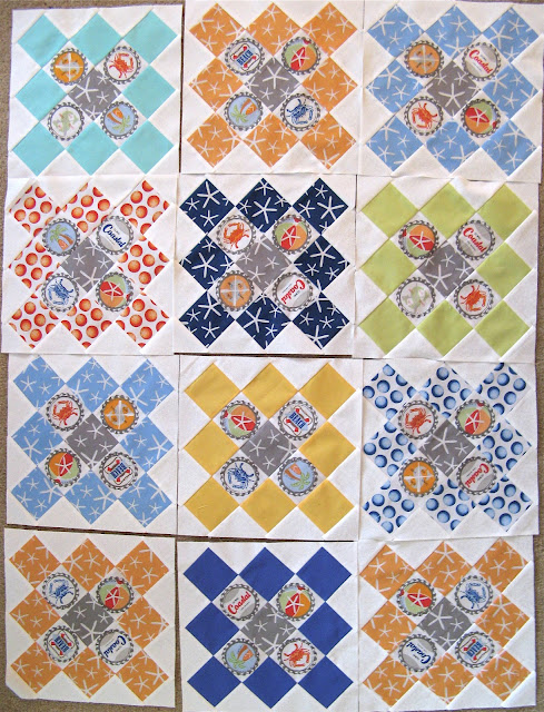 Block arrangement of Going Coastal quilt using Michael Miller fabrics