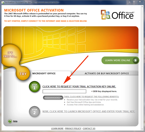 Microsoft Office can be installed as a trial version and can be activated l
