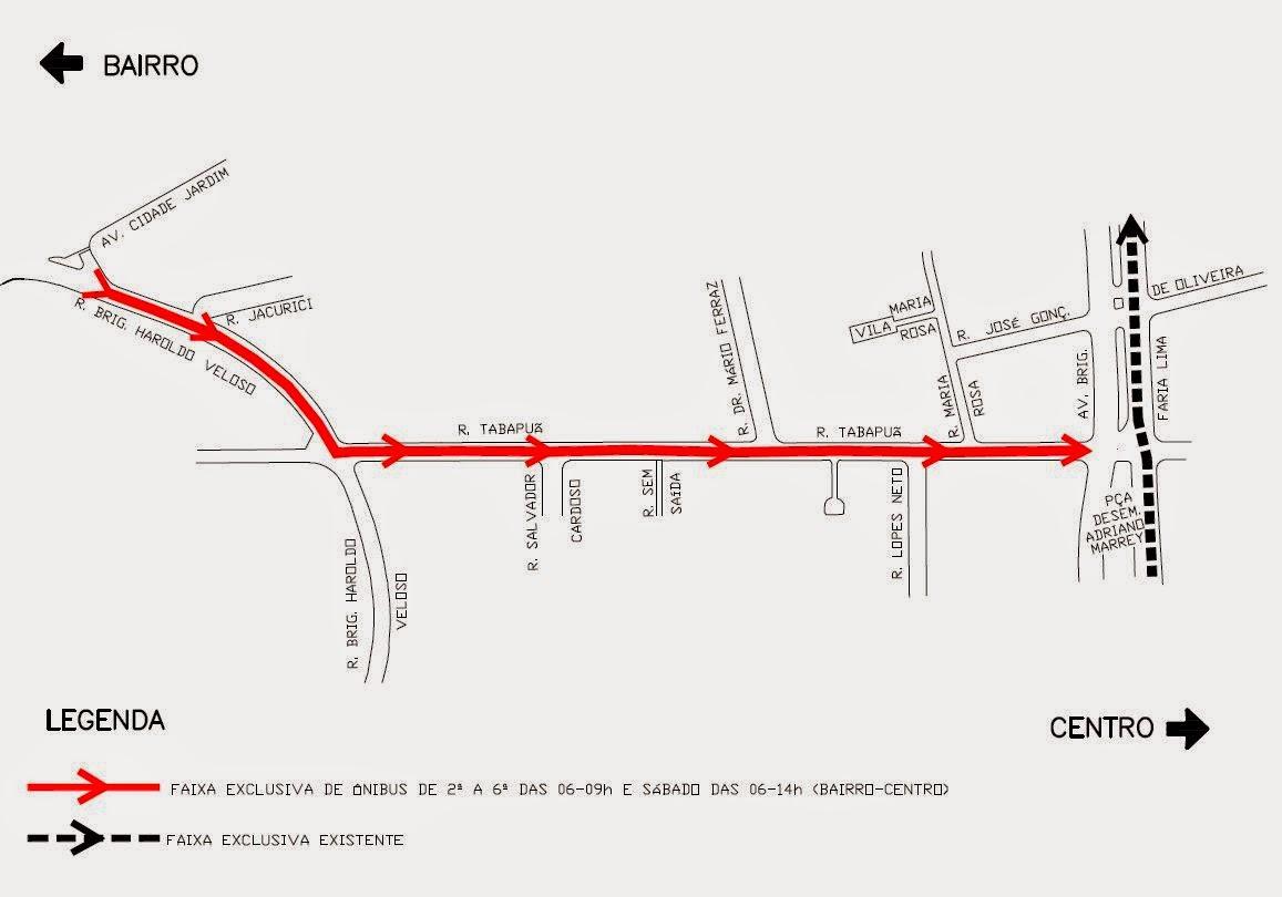 Novo trecho do Corredor Exclusivo para Ônibus na Rua Tabapuã