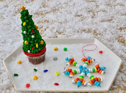 Christmas Tree Cupcake Toppers + Candy Necklace Ornaments