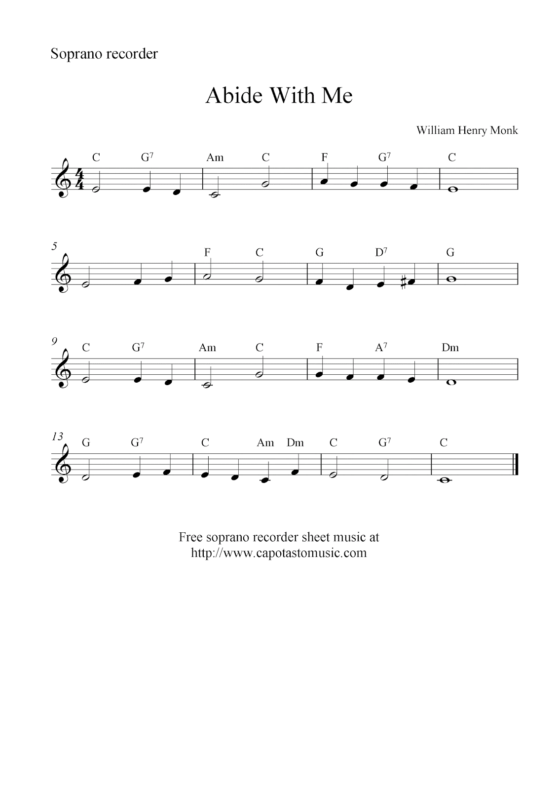 Free soprano recorder sheet music, Abide With Me
