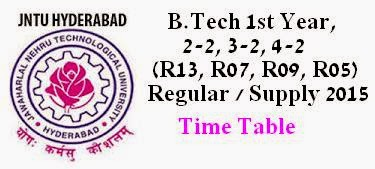 JNTUH-JNTU Hyderabad B.Tech Time Table 2015