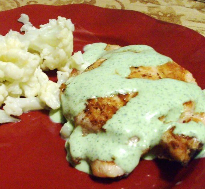 Cilantro Cream Sauce on Chicken