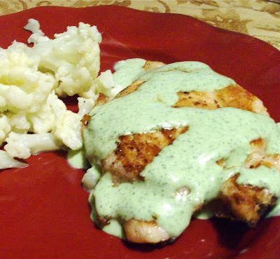 Cilantro Cream Sauce on Chicken
