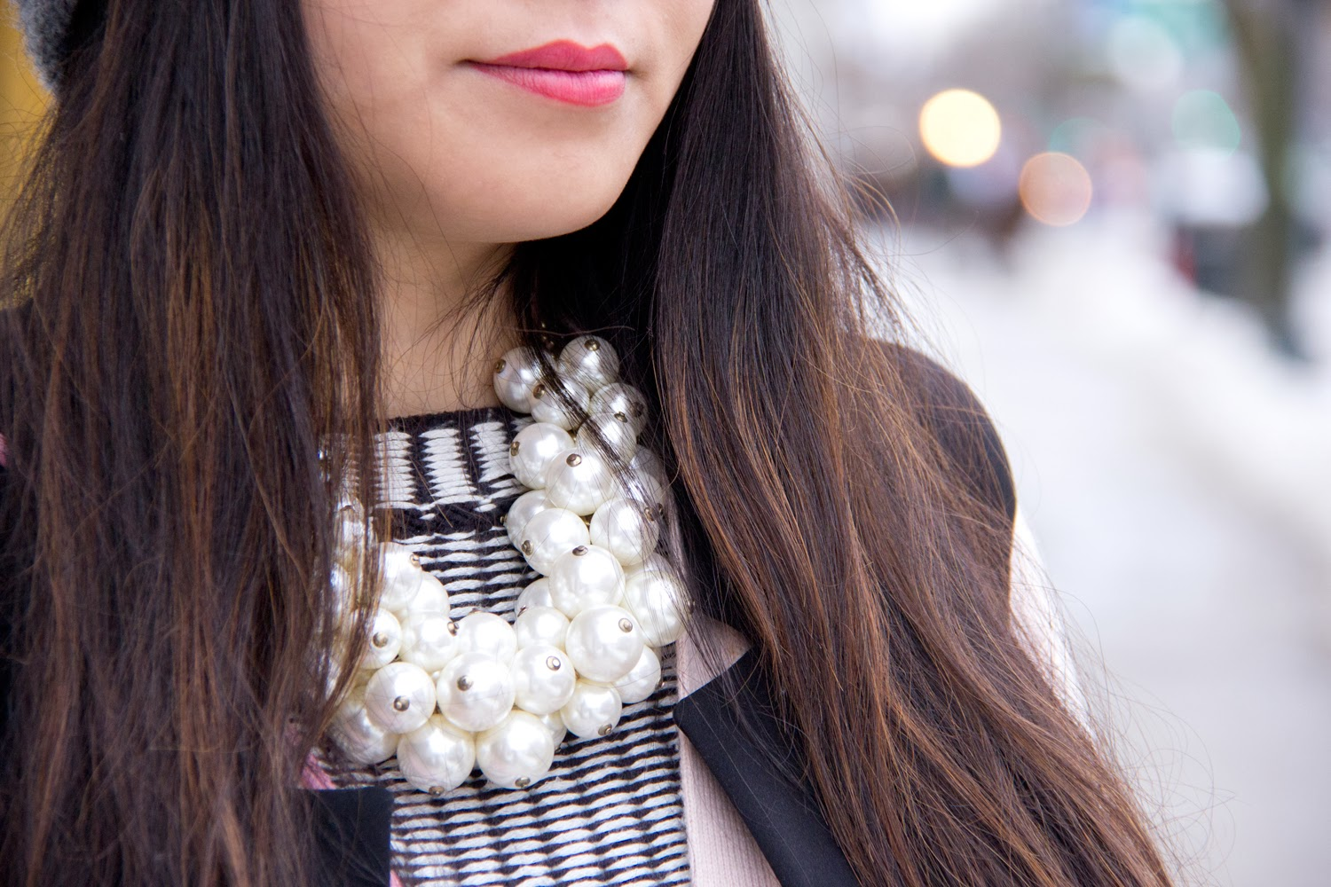 Statement-Necklace, pearls, black-and-white, street-fashion, blogger