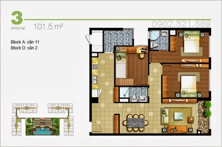 Căn hộ Lexington 3 phòng ngủ 101.5m2