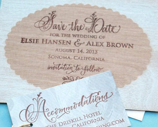 Spring DIY Wedding Inspiration - Homemade DIY Scalloped Wood Frame Save the Date Wedding Invitations