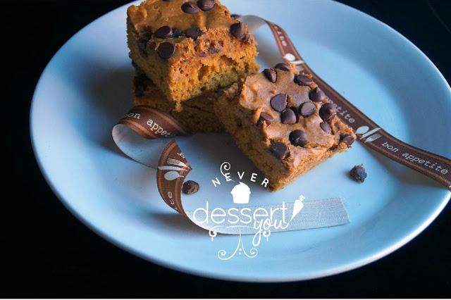 Chocolate Chip & Pumpkin Cheesecake Brownies - Never Dessert You