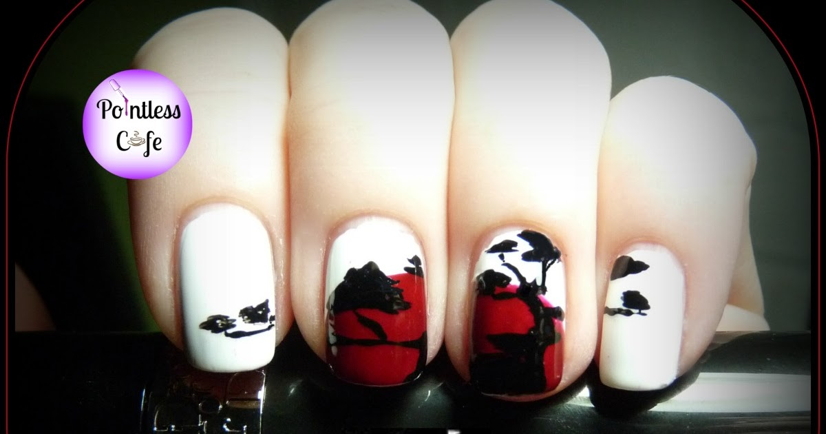 Nail Art Theme Week Anese Day One Pine Silhouette Against The Flag Of An Pointless Cafe