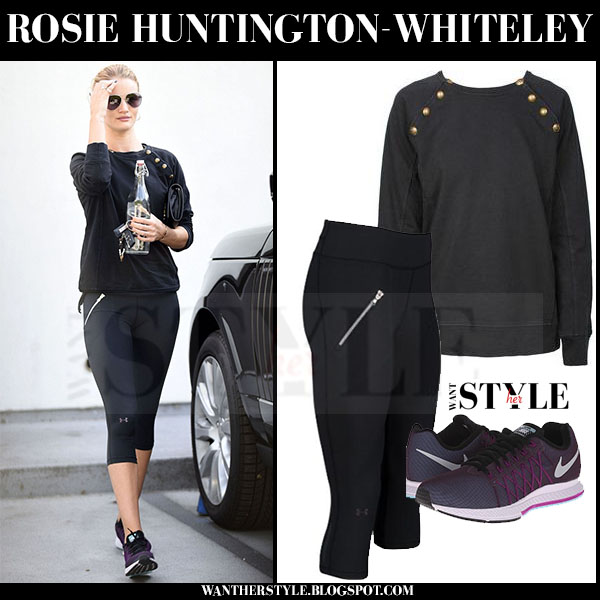 Rosie Huntington-Whiteley in black ragdoll la sweatshirt, black capri under armour leggings and purple nike air zoom sneakers what she wore