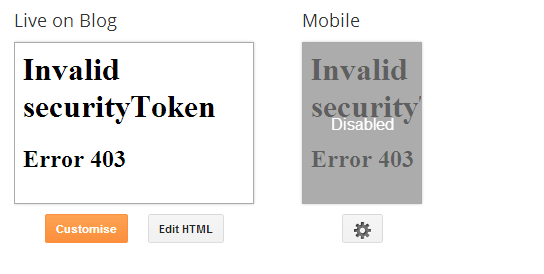 Invalid Security Token Error 403