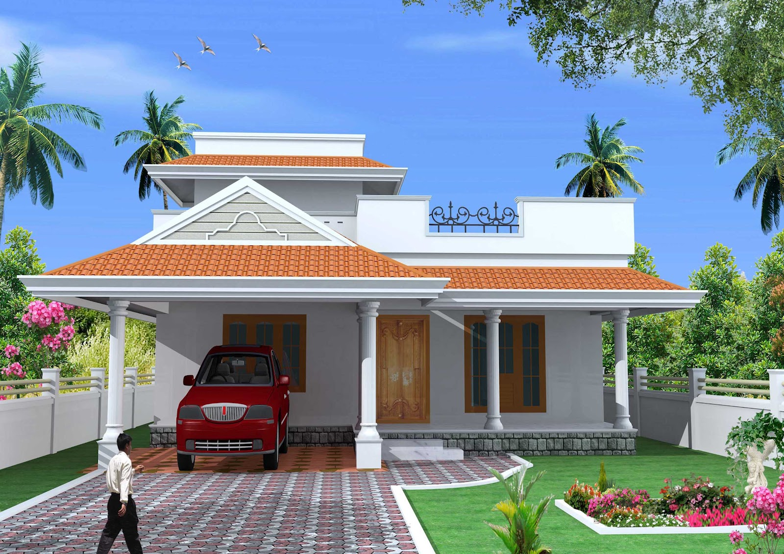 Green homes kerala style single floor house plan 1500 for Single floor house plans kerala style