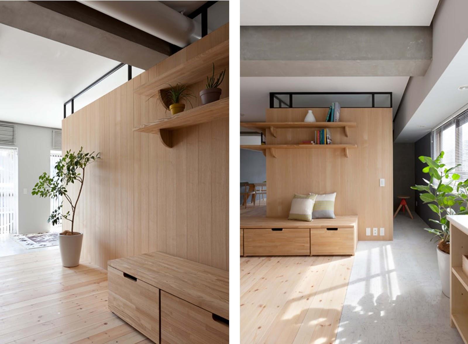 Appartamento con parete divisoria in legno by studio - Parete in legno divisoria ...