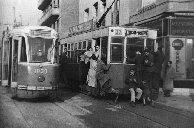 Paseo de las Delicias, Madrid 1949 Tranvias