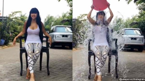 Julia Perez Tantang Agnes Mo, Diego Michiels dan SBY di Ice Bucket Challenge