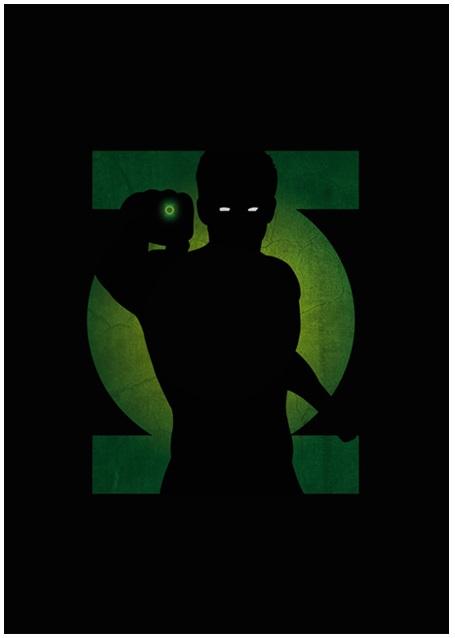 Lily's Factory ilustrações quadrinhos super heróis marvel dc sombras minimalistas Lanterna Verde