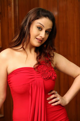 gorgeous Sonia agarwal in red dress looking awesome